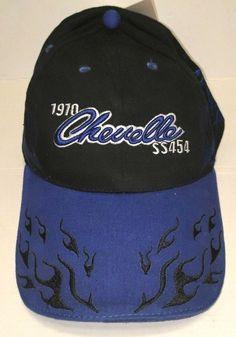 76e1e2c6437e2 Hat Cap Chevrolet Chevy 1970 Chevelle SS 454 BLACK BLUE FLAMES NEW WITH TAG   fashion