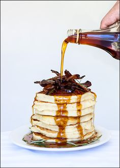 Rosemary Buttermilk Pancakes with Candied Pancetta  They're surprisingly good given these were whipped together in a craving rage, or crage, fueled impulse.