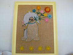 Vintage Needlepoint Puppy & Flowers Burlap 27H x by NehiandZotz