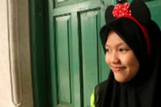 my style :) #girl #me #bando #mickey #hijab #black #red #green #school #in # class