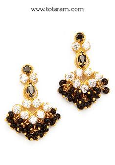 Gold Earrings for Women in 22K Gold with Cz & Black Beads - GER6128 - Indian Jewelry from Totaram Jewelers