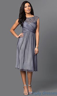23753bb94a Knee-Length Graphite Silver Semi-Formal Party Dress