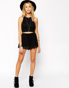 ASOS+High+Waisted+Jersey+Shorts+with+Lace+Hem