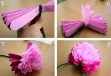 Как сделать объёмные цветы.   ИЗ БУМАГИ СВОИМИ РУКАМИ