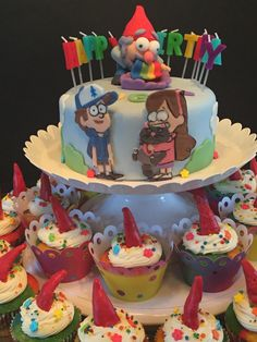 Gravity Falls Cake and Cupcakes Fall Birthday Cakes, 15th Birthday Party Ideas, Fall Birthday Parties, Cupcake Birthday Cake, Cupcake Cakes, Fall Party Themes, Cute Baking, Fall Cakes, Food Crafts