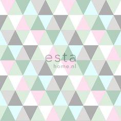 krijtverf vliesbehang driehoekjes roze, mint en grijs - Everybody Bonjour…
