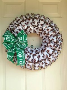 Football Wreath with Field Yard Line Bow by TowerDoorDecor on Etsy, $40.00