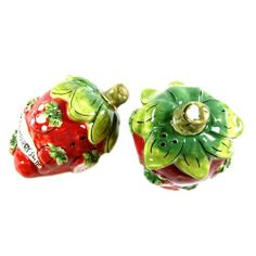"""Strawberry Suite"" Tabletop Salt & Pepper Shaker Set by Dantes Design. $9.95. Each shaker measures 3.5"" x 2.5"" x 2.5"".. A Dantes Design Collection.. Glossy finish ceramic construction.. 2-piece salt-and-pepper shaker set.. ""Strawberry Suite"" Tabletop Salt & Pepper Shaker Set. 2-piece salt-and-pepper shaker set.  Glossy finish ceramic construction. A Dantes Design Collection. Each shaker measures 3.5"" x 2.5"" x 2.5"".. Save 50%!"