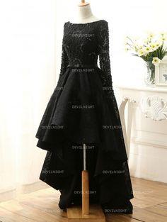 Fashion Black Lace High-Low Gothic Wedding Dress - Devilnight.co.uk