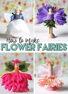 How to make adorable flower fairies out of wooden clothespins and silk flowers. … How to make adorable flower fairies out of wooden clothespins and silk flowers. A perfect spring craft for kids and adults alike! Crafts For Teens To Make, Spring Crafts For Kids, Summer Crafts, Holiday Crafts, Fairy Crafts, Flower Crafts, Cute Crafts, Diy And Crafts, Kids Crafts