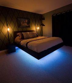 Floating bed made by /u/hurtsboyhurts - http://i.imgur.com/hpFLyHQ.jpg