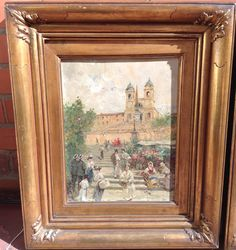 Andrea Marchisio (1850-1927) Italian Painter - Oil on wood - Trinitá dei Monti (1890)  Very Good condition. It has a restauration at the top. 33 x 25 cm (12.99 x 9.84 in) Signed at the bottom right date and place (Rome 1890) On the back is the title of the place. Sold unframed  For sale.  Shipping is free if purchased at full price. For futher information, please contact: lamarcheantiques@gmail.com