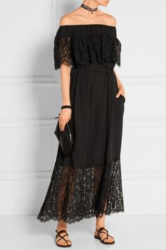 Black silk-voile and lace Slips on 100% silk; trim: 70% cotton, 30% silk; lining: 100% silk Dry clean