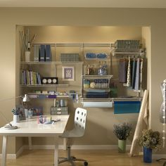 No matter what you create in your craft room, store all your craft supplies with a #ShelfTrack wire system from #ClosetMaid. System available on TheMine.com now.