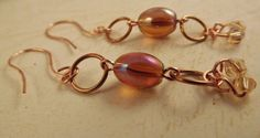 Chain Copper and Amber Earrings by ShayBelleDesigns on Etsy, $4.00