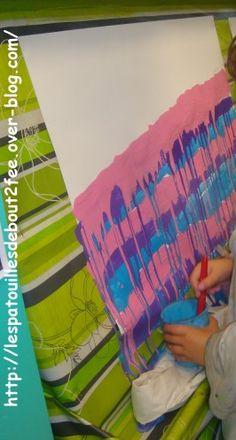... la peinture ! C'est une activité que je fais faire tous les ans dans ma classe. Les enfants adorent... Cette année, coulures à la peinture sur grand format 50 x65 cm. Il faut penser à bien diluer la peinture. J'ai choisi d'utiliser des grosses brosses...