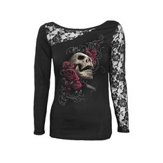A long-sleeve women's shirt by UK clothing brand Spiral Direct, combining soft black cotton fabric with floral lace details and printed with a large skull bedded on red roses, with tribal background and flourishes. Beautiful!