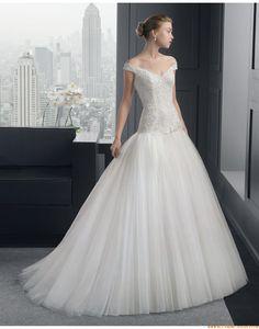 2015 A-linie Luxuriöse Ausgefallene Brautkleider aus Softnetz mit Applikation