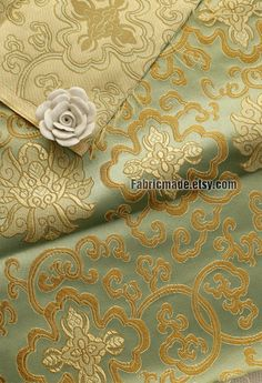 Floral Brocade Fabric Gold Flower On Light Golden by fabricmade