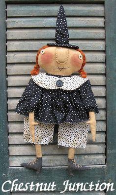Ziggie Witch ePattern - primitive halloween doll craft pattern - PDF - 3.99