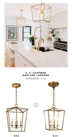 Circa Lighting E. F. Chapman Darlana Lantern $483 vs @homedepot Denmark Golden Iron Pendant $231