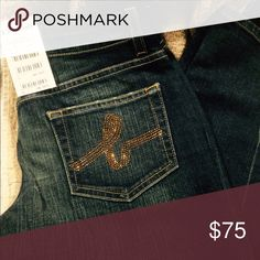Jeans Boot cut jeans from Bebe. Brown rhinestones on the back pockets. bebe Jeans Boot Cut