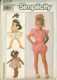 SALE Vintage 80s Sewing Pattern Simplicity 9216 Toddlers Jiffy Crop Top and Bloomers Shorts Dress Size 3-6 UNCUT.  via Etsy. Sewing Patterns Girls, Simplicity Sewing Patterns, Clothing Patterns, Vintage Patterns, Girls Tent, Tent Dress, Crop Top And Shorts, Mode Vintage, Crochet Blanket Patterns