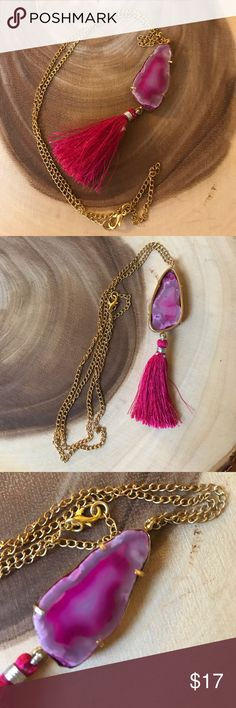 END OF SUMMER SALE - Agate Slice Tassel Necklace Beautiful and fun fuchsia/quartz colored agate slice necklace featuring a fuchsia cotton thread tassel and faux gold necklace/setting. Brand new without tags - handcrafted in India and bought direct from the artist. 100% of profits donated to charity. Jewelry Necklaces