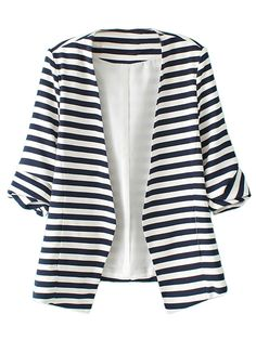 Blue And White Stripes,Roll Up Sleeve,Slim,Blazer