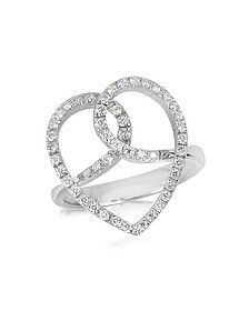 Diamond Crossing Heart 18K White Gold Ring - Forzieri