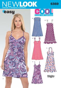 Patterns - New Look 6369 JUNIORS' DRESSES IN TWO LENGT