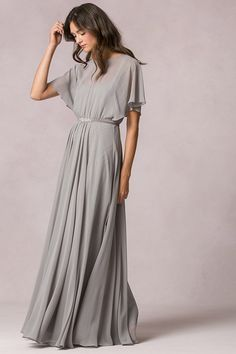 flutter sleeves a-line/princess chiffon pleated long bridesmaid dress with ribbon