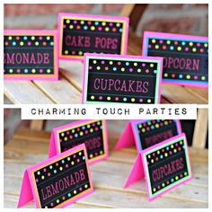 Girl Neon Birthday Party Food Tents / Food labels.  Set of 6, physical product. Neon party decoration / party decor . Customizable. by CharmingTouchParties on Etsy