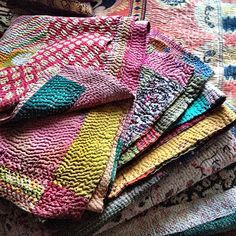 Isn't the texture and washed out hues of this vintage kantha cloth just insanely lovely? | Flickr - Photo Sharing!
