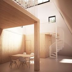 Nexus interiors. The full height space culminates on a full width skylight. The walls are articulated following the geometry of this wooden twisted tower, creating a variety of spacial combinations.