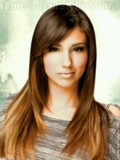 Long, straight, layered, brown and caramel ombre hair with side bangs