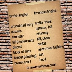 Broaden your horizons with Grammarbase.com!  Every monday we'll compare British and American English words and get to know the main differences in vocabulary.