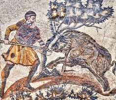 Mosaico Romano, Caza del Jabalí - Procedente de la Villa Romana de las Tiendas, S. IV