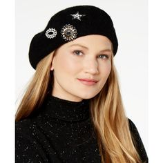INC Embellished Brooch Beret, Created for Macy's ($39) ❤ liked on Polyvore featuring accessories, hats, black, beret hat, embellished hats, rhinestone hats, star hat and inc international concepts