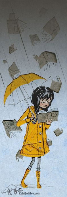 Illustration of woman reading a book beneath a yellow umbrella while wearing a yellow rain jacket and books raining from sky Reading Art, I Love Reading, Woman Reading, I Love Books, Books To Read, Book Art, Art Et Illustration, World Of Books, Lectures