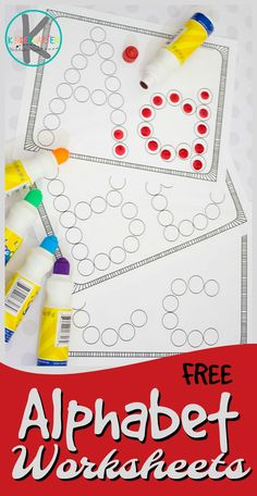 FREE Alphabet Worksheets - these simple abc worksheets are a great printable to help children practice their letters using do a dot markers. Perfect free printable for toddler, preschool, and kindergarten to practice letters with bingo daubers. Preschool Letters, Letter Activities, Free Preschool, Preschool Lessons, Learning Letters, Preschool Learning, Preschool Activities, Activities For 3 Year Olds, Preschool Printables Free Worksheets