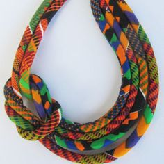 Summer necklace/ Bib Necklace, Kente fabric necklace.