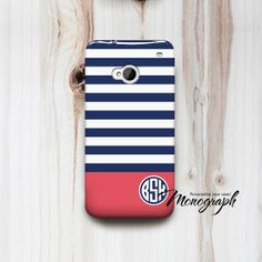 HTC One Case Stripes Monogram HTC One M7 Cover also by monograph, $16.00