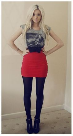 graphic tee high waist mini skirt bow belt tights ankle boots · gray red black