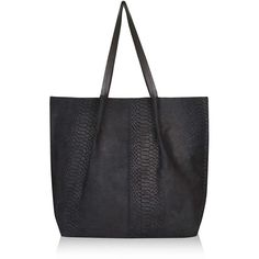TOPSHOP Suede Insert Shopper Bag ($70) ❤ liked on Polyvore featuring bags, handbags, tote bags, black, top handle handbags, black shopping bags, topshop, black shopper tote and black tote