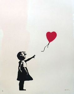 Banksy, «Girl with Balloon», 2004. Anonymous Tattoo, Banksy Art, Bansky, Its A Girl Balloons, Street Artists, Art World, Highlights, Pottery Cool, Famous Tattoos