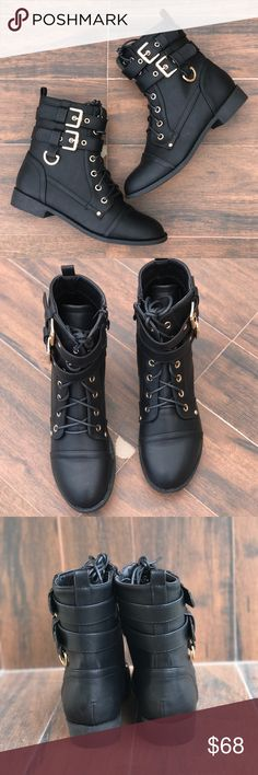 "Buckle Threat Combat Moto Lace Up Boot Black Vegan Leather Upper with Gold Accent Buckles. Made in USA or Imported. Rugged thermoplastic rubber sole. Heel measures approximately 1 inches"" Rubber TPR outsole, Faux fur lining Platform Measures: 0.5""(approx) Boutique Shoes Combat & Moto Boots"