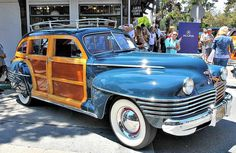 A MOSTLY BLUE 1942 CHRYSLER BARREL BACK TOWN AND COUNTRY ESTATE WAGON