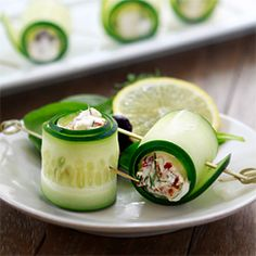 Mix feta or cream cheese with ur fave spices like dill and wrap up with cucumber!!