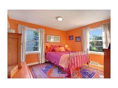 Orange, pink and purple color scheme. #bedroom #beds #decor